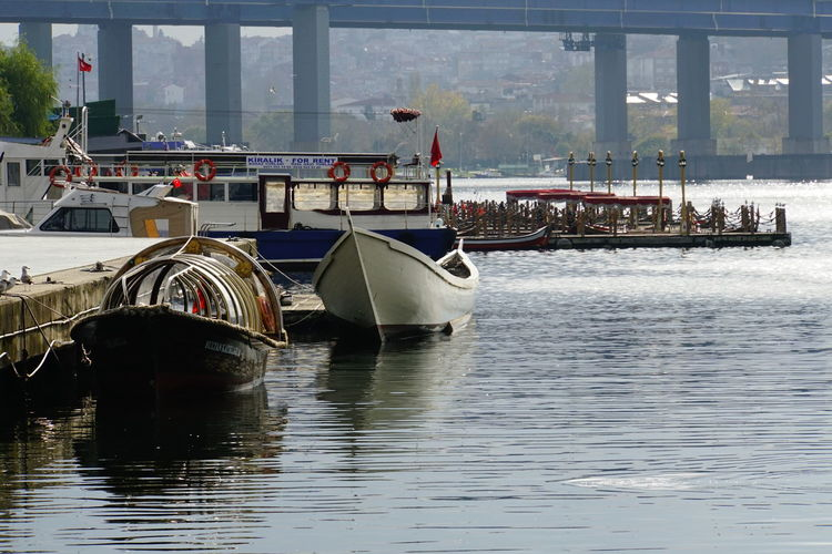 Boats moored in river