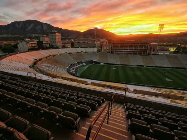 Sunset. Travel Destinations Mountain Tranquility Seat Outdoors Beauty In Nature Cloud - Sky Tranquil Scene Orange Color Scenics Sky Stadium Stadium Seating Orange Sky Colorado University Of Colorado Boulder Boulder Panasonic Lumix Gx8