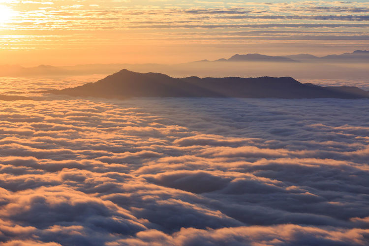 The landscape photos, beautiful sea fog in morning time at the mountain peak in Thailand. Scenics - Nature Sunset Beauty In Nature Sky Cloud - Sky Tranquility Tranquil Scene Orange Color Idyllic Mountain Cloudscape No People Nature Majestic Non-urban Scene Outdoors Mountain Range Dramatic Sky Sun Mountain Peak Chiangmai Chiangdao Thailand Sunrise