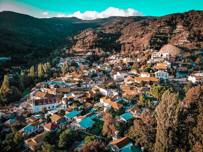 Foini Village EyeEmNewHere Dji Air Mavic Above View Village Traditional Cyprus Foini Landscape Landscape_photography Sky Teal Mountain Full Frame High Angle View Sky Landscape Mountain Range Cottage Valley