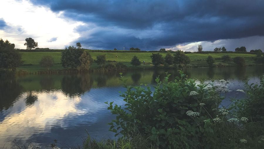 French landscape Beauty In Nature Cloud - Sky Environment Green Color Growth Lake Landscape Nature No People Non-urban Scene Outdoors Plant Reflection Scenics - Nature Sky Tranquil Scene Tranquility Tree Water