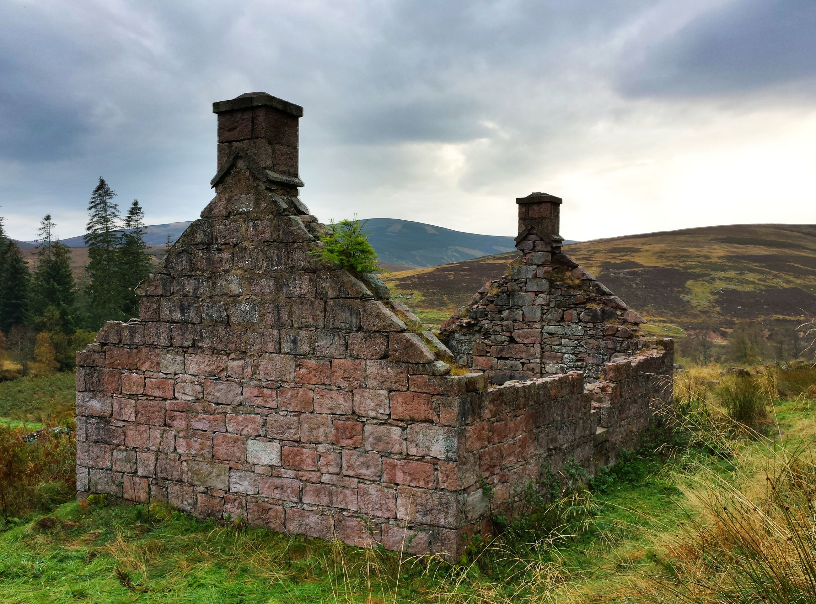 architecture, sky, built structure, old, building exterior, stone wall, old ruin, grass, cloud - sky, abandoned, history, landscape, damaged, ruined, the past, weathered, run-down, deterioration, obsolete, field