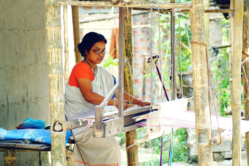 Adults Only Adult Business Finance And Industry One Person Casual Clothing People Only Women Day One Woman Only Indoors  Real People Working Young Adult Weaving Weaving Loom Hand Loom Rural Scene Assam, India Be. Ready.