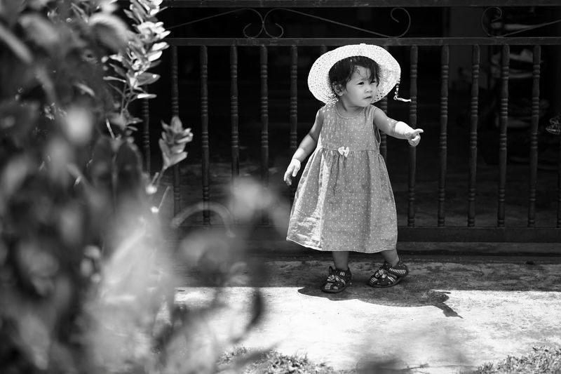 Home House Children Girl Vintage Malay Daughter Blackandwhite Outdoors Hat Child Childhood Full Length Happiness Babyhood Baby Clothing Toddler  Baby Girls 12-23 Months One Baby Girl Only Preschooler Baby