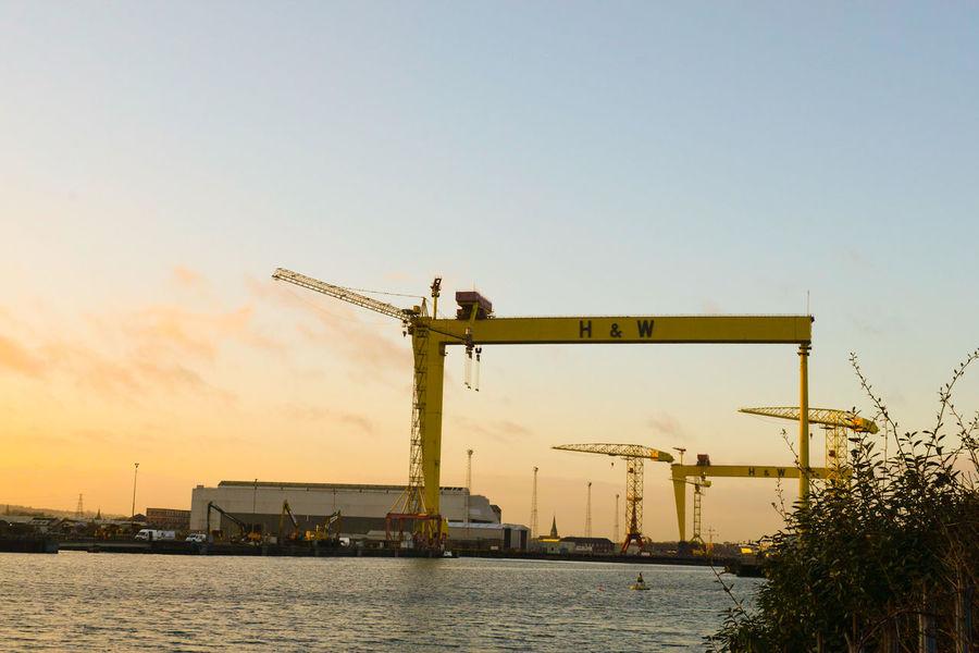 Industry Sky Outdoors Water Architecture Offshore Platform City No People Harland&Wolff Docklands Harbor Belfast
