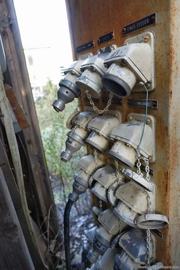 Sigots at an abandoned asphalt plant. Full article here: http://www.placesthatwere.com/2016/10/abandoned-asphalt-plant-in-lasalle.html #abandoned #abandonedplaces #industrialdecay #urbex #urbanexploration #LaSalle #Illinois #asphaltplant #spigots #faucets feeders