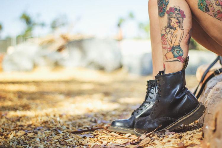 Relaxing Enjoying Life Hanging Out Casual Clothing Young Women Tattoo Tattoo Girl