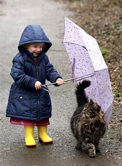 Full Length Pets One Girl Only One Person One Animal Domestic Animals Children Only Child Rubber Boot Dog Animal Themes People Childhood Looking Down Knit Hat Outdoors Warm Clothing Mammal Day
