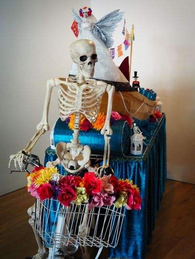 Mexican Traditions Mexican Culture Folklore Mexicano Ofrenda Al Dia De Muertos Dia De Los Muertos Day Of The Dead Mexican Traditions In Memory Of Celebration Event Remembering The Dead Colourful Calacas Indoors  Human Skeleton Human Representation Decoration Still Life Celebration