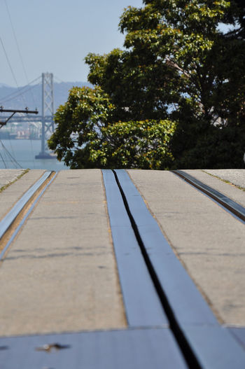 Cable Car Tracks Golden Gate Bridge In Background Day Nature No People Outdoors Sky Steetphotography Tree