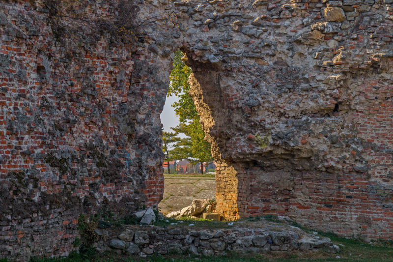 Detail from Sabac old city fortress / Serbia Architecture Built Structure Old No People Wall Fortress Architectural Column Arch History Fortification Gate Landmark Ruined Stone Wall Day Ancient Building Exterior Brick Wall