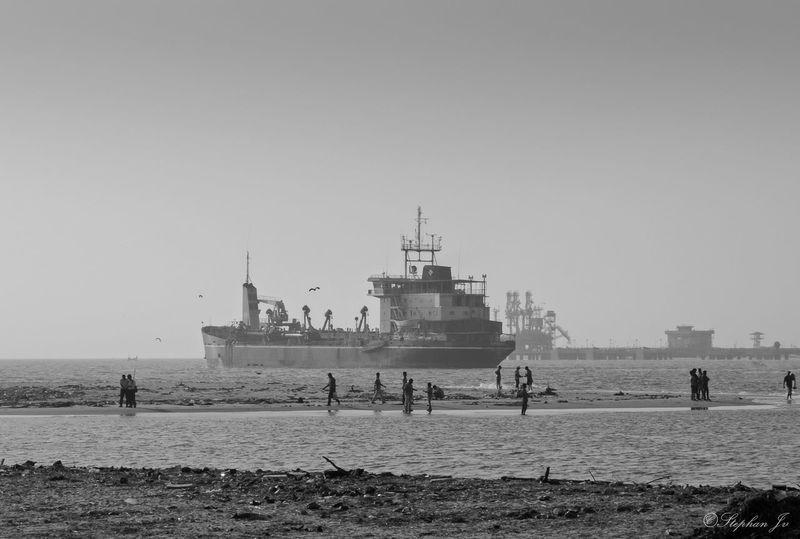 Sea Ship Shoreline Kerala India Cochin Evening Blackandwhite Nikon People