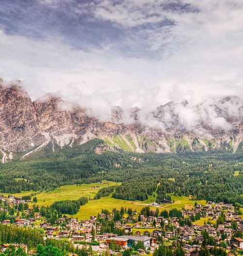 Scenic View Of Mountains At Cortina D Ampezzo In Foggy Weather