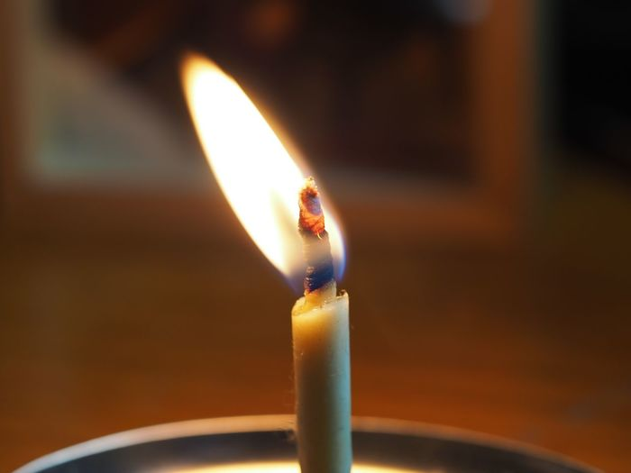 flickering Flame Burning Candle Glowing Close-up Melting