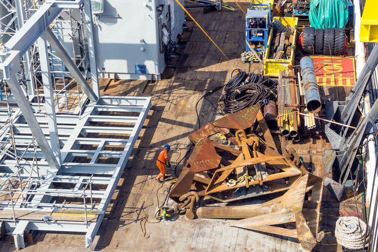 High angle view of construction site