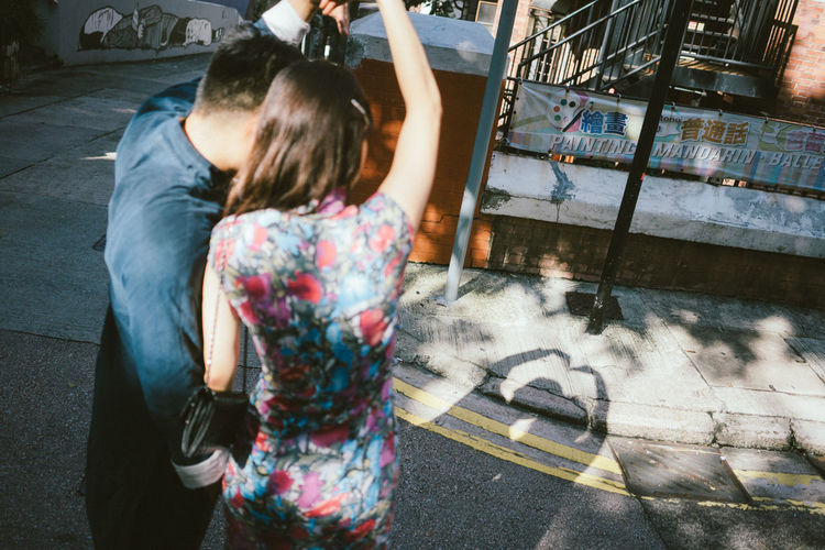 Fun Relationship Silhouette Arms Raised Art And Craft City Couple - Relationship Creativity Heart Shape Lifestyles Love ♥ Rear View Shadow Two People