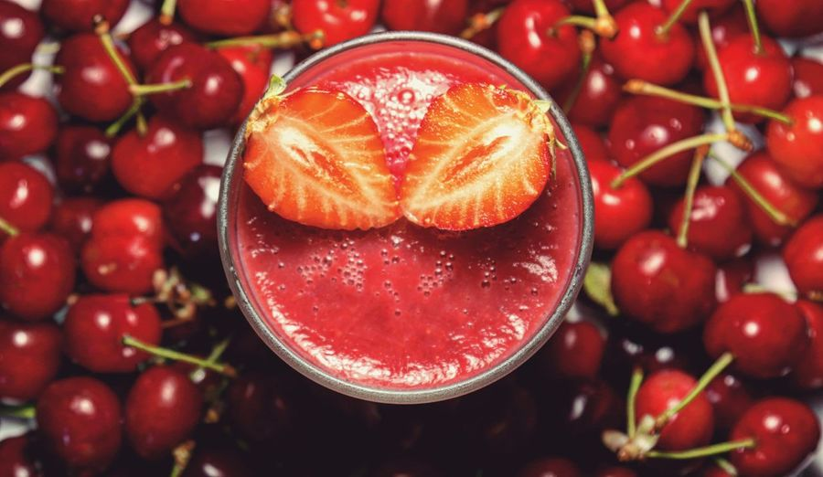 Healthy Food Healthy Eating EyeEm Best Shots Freshness Open Edit Smoothie High Angle View Delicious Ymmy Cherry Strawberry Fruit Healthy Lifestyle Red Drinking Glass Close-up Food And Drink Ripe