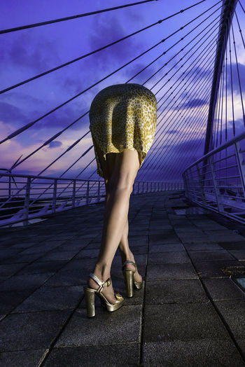 Bikyaku Seijinn a.k.a. Beautiful legs Alien No photoshop,One shot,Self portrait Alien Setting Sun Adult Alien Bikyaku Architecture Bridge Clothing Footpath Full Length Legs Legs_only Leisure Activity Lifestyles Nature One Person Outdoors Paving Stone Purple Railing Real People Sky Standing Sunset Transportation Women