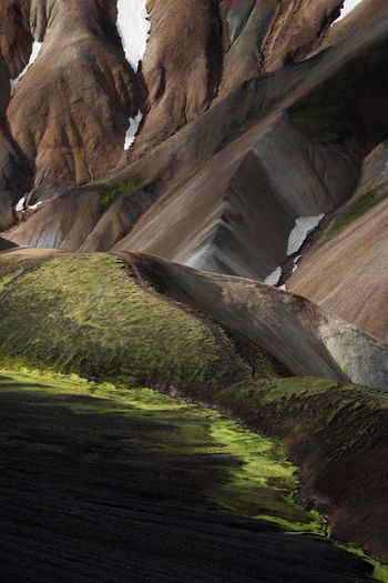 Iceland Landmannalaugar Land Day Nature No People Tranquility Sunlight Plant Environment Tranquil Scene Beauty In Nature Scenics - Nature Outdoors Field Non-urban Scene Green Color Landscape