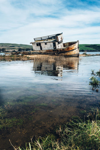 It seems like we are all very obsessed with shipwrecks... Abandoned Boat Blue Boat California Green Landscape Point Reyes Reflection Ship Wreck Sunny Day Miles Away