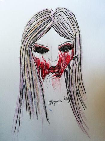 My drawing ArtWork Red Blood Horror Demon Demonic MyArt Drawing ✏ Pencil Unique Darkart Morbid Amaturedrawing