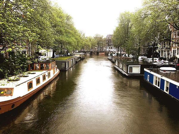 Water Tree Canal Incidental People Travel Destinations Nautical Vessel Day Waterfront Moored Outdoors Building Exterior Nature Architecture Sky City People