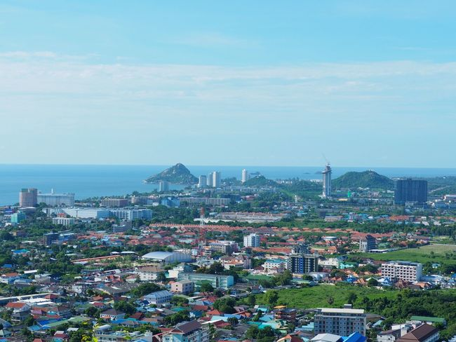 Hin Lek Fai Viewpoint at Hua Hin, Thailand Architecture Building Exterior Built Structure Cityscape Crowded Sky Day Outdoors High Angle View City Community Sea Nature Horizon Over Water Tree People Cloud - Sky Mountain Landscape Shot Background Clear Sky Beauty In Nature City Nature