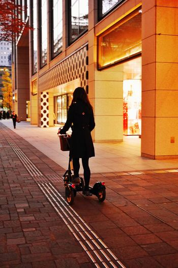 She's gone/丸の内仲通りですれ違った美人さんが乗っているのは何? Nightphotography Streetphotography Segway Bicycle Enjoying Life LUMIX DMC-GX7 I Heart Tokyo Tokyo Japan
