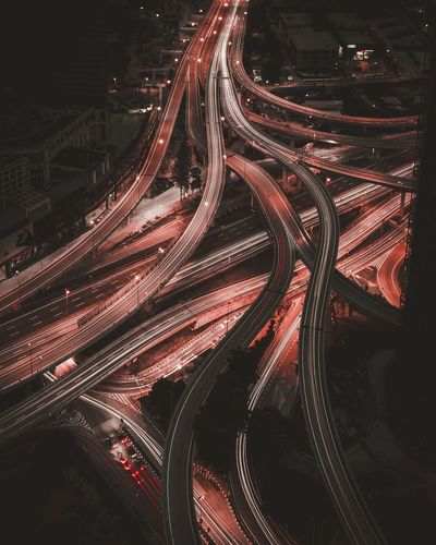 Veins. Urban Geometry Long Exposure Rooftops Traffic Transport Cities At Night Nightphotography Lighttrails Need For Speed Mobility In Mega Cities The Traveler - 2018 EyeEm Awards