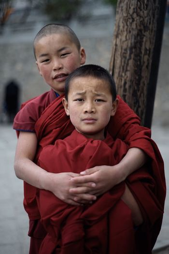 Boys Child Childhood Buddhism Buddhist Temple Monks Two People Portrait China Looking At Camera People Long Goodbye