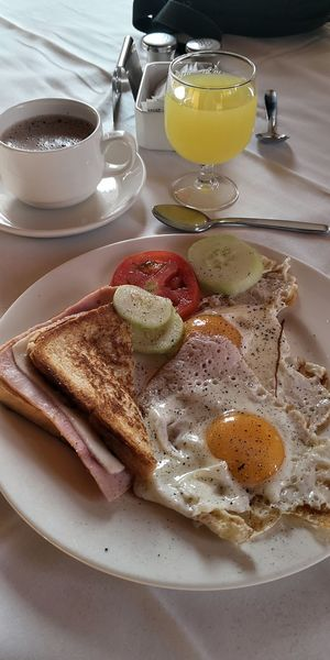 Eggs For Breakfast Toasted Sandwich Breakfast Drink Plate Table Food And Drink Close-up Black Coffee Hot Drink Coffee