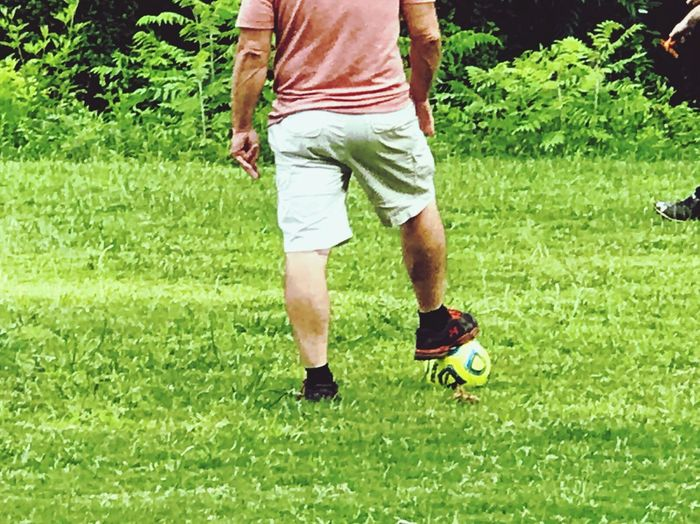 Green Grass One Man Only Grass Sport Adult Coach Community Recreation Soccer Out Of The Box Soccer Field Soccer Ball Soccer Coach Lower Body Foot On Soccer Ball Community Coach