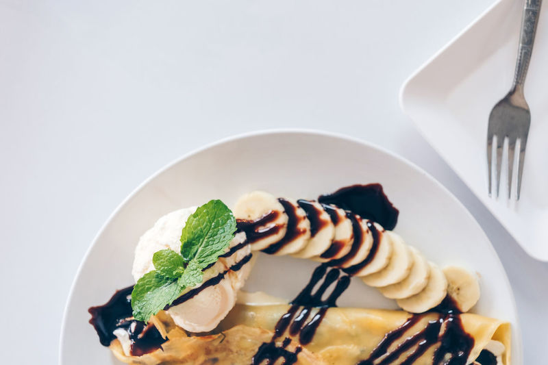 High angle view of ice cream in plate