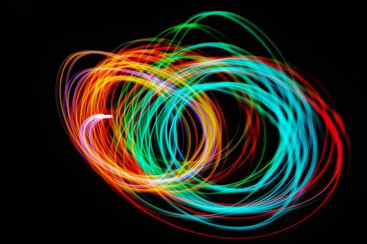 Light painting against black background