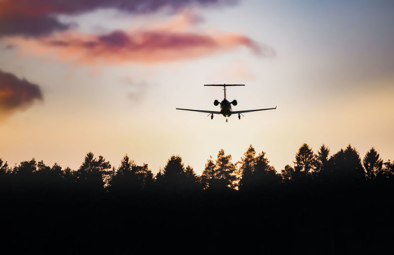 Airplane in the sunset Flying Sky Mode Of Transportation Silhouette Air Vehicle Tree Transportation Airplane Motion Mid-air Low Angle View Plant Sunset No People Nature on the move Travel Cloud - Sky Outdoors Journey Aerospace Industry Plane Clouds And Sky
