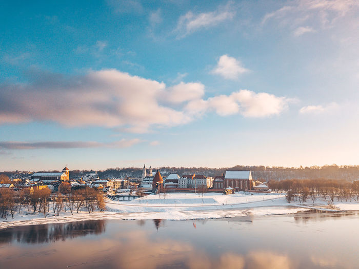 Sky reflection Aerial Shot DJI Mavic Pro DJI X Eyeem Drone  Aerial Aerial View Architecture Beauty In Nature Building Exterior Built Structure Cloud - Sky Cold Temperature Day House Kaunas Old Town Mavic Mavic Pro Nature Neris No People Outdoors Reflection Scenics Sky Snow Tranquility Tree Water Waterfront Winter