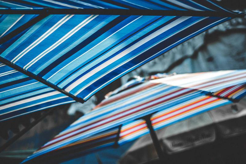 Close-up of parasols