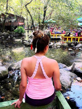 Antalya Olimpos, Kemer Water Tree Standing Women Rear View Swimming Pool Blooming Water Park Pool Water Slide Chain Swing Ride