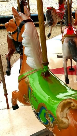 Close-up Blackpool Central Pier Carosel Horse Photography  Fairground Ride Pier No People Green Color