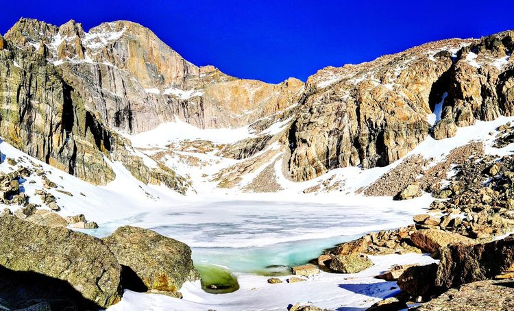 Mountain Snow Scenics Mountain Range Nature Rock - Object Outdoors Beauty In Nature No People Lake Day Winter Landscape Water Cold Temperature Sky 14er 14ers Colorado Photography Blue Clear Sky Estes Park Longs Peak Vacations Tranquility