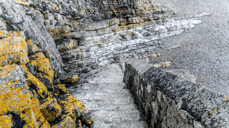 View of steps by beach