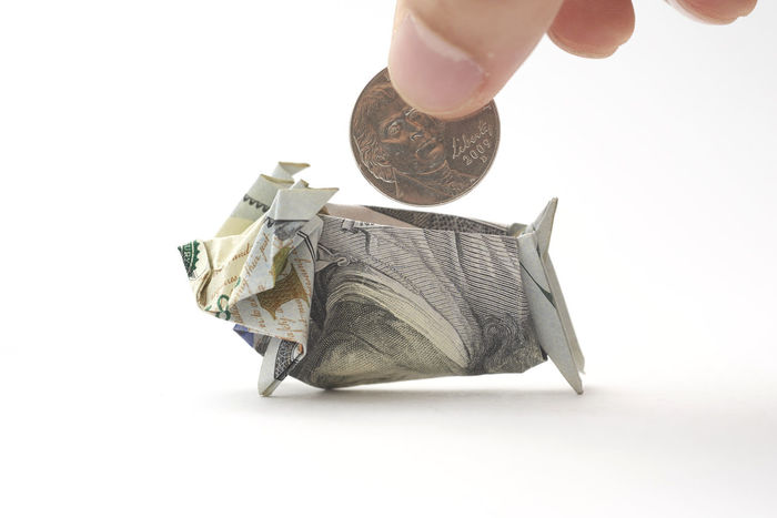 United States Dollor (USD): Piggy bank origami made using USD (100 Dollar) and a coin with isolated white background. American Banking Banking Business Business Business Finance And Industry Cash Deal Dept Dollar Economy Finance Finance And Economy Financial Investment Loan  Money Mortgage Origami Piggy Bank Profit Saving Savings Stock USD Wealth
