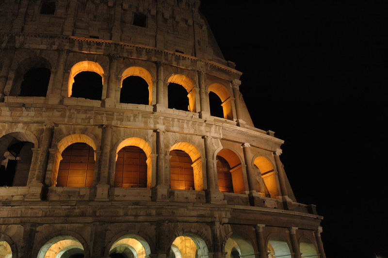 Ancient Arch Architecture Building Exterior Built Structure Colosseum Colosseum Night History Illuminated Low Angle View Night No People Old Ruin Outdoors Tourism Travel Destinations