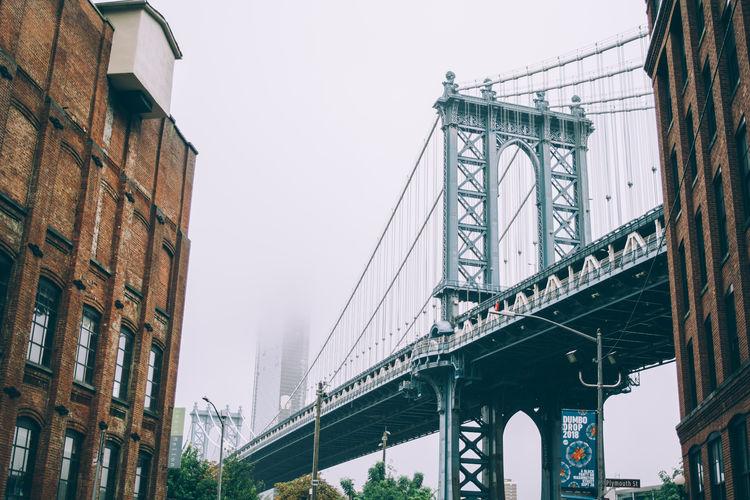 City New York Architecture Bridge Built Structure City Connection Fog Manhattan Bridge Mist Outdoors Sky Suspension Bridge Transportation Travel Destinations