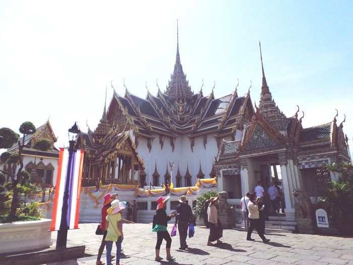 Inside the Grand Palace compound, Bangkok Thailand People Watching Travel Tourists Templesandwats Spires Openskies