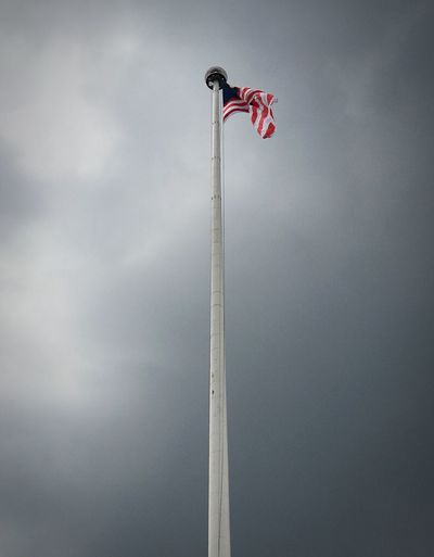 EyeEm Selects the tallest flagpole in Malaysia on a grey sky afternoon. Low Angle View No People Day Sky Outdoors Kuala Lumpur City Built Structure Looking Up Flag Pole Flags In The Wind  Flagpole Dataran Merdeka Greyskies