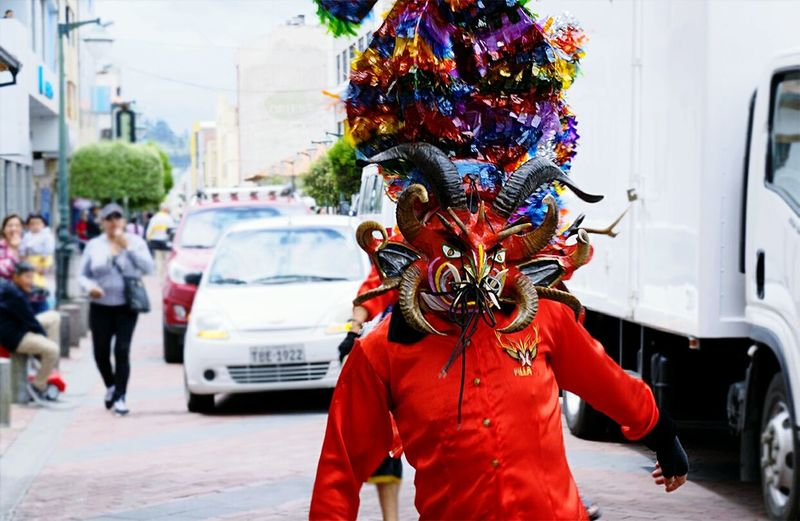 Traditional dance in Ecuador known as Diablada Pillareña because it comes from a small town called Pillaro, where men wears big devil masks while they danceShowcase July Devil Demon Devil Parade Mask Devil Mask Festival Parade Diablada Halloween Colour Of Life Diablada Pillareña in Pillaro Ecuador