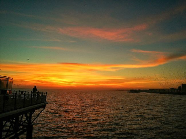 A beautiful day .. watching a beautiful sunset ☀ EyeEm Nature Lover Free Open Edit Colours Of Sunset Beautiful Day Life Is A Beach Sunset_collection Sea And Sky From The Rooftop