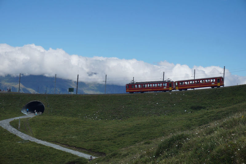 Cloud - Sky Day Field Grass Locomotive Mode Of Transport Nature No People Outdoors Red Train Sky Swiss Mountains Train - Vehicle Transportation Tree