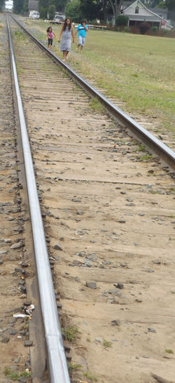 Railroad Track Walking On Rails St. Joseph, Michigan Silver Lake Mi Railing Line Architecture